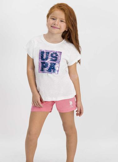 U.S. Polo Assn.  Lisanslı Krem Kız Çocuk Şort Takım Krem
